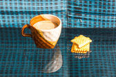 Still Life breakfast , Coffee Cup White Butter — Stock Photo