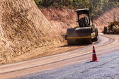 Road roller at work in Countryside — Stock Photo