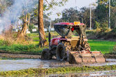 Tractor Prepares Rice Paddy, Agriculture In Thai — 图库照片