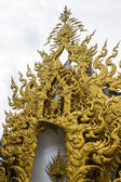 Golden gable apex in Wat Rong Khun , Thailand White Temple Chiang Rai Province — Stock Photo