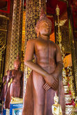 Buddha Wood carving In Chapel, Wat Ban den Temple Maetang Chiangmai — Stock Photo