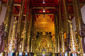 Buddha Statue In Chapel, Wat Ban den Temple Maetang Chiangmai Thai — Stock Photo