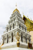 White pagoda in thai temple at Lamphun Province, northern Thailand — Stock Photo