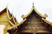 Roof of ancient Thai temple, wood chapel — Stock Photo