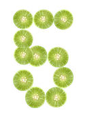 Number 5 lime isolated — Stock Photo