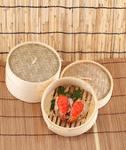 Dim Sum in Bamboo Steamed Bowl — Stock Photo