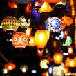 Traditional vintage Turkish lamps over light background in the n — Stock Photo