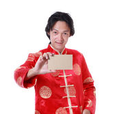 Asian chinese man holding card paper on hand,chinese new year on — Stock Photo