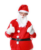 Happy Santa Claus asian with thumb up, isolated on white backgro — Stock Photo