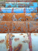 Old abandoned chemical fuel barrels — Stock Photo