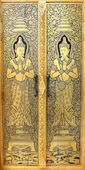 The Door Thai style painting art in temple — Zdjęcie stockowe