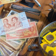 Thai bank notes and coins collection — Stock Photo