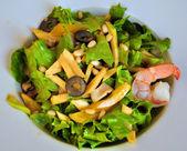 Salad with prawn — Stock Photo