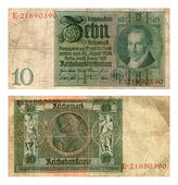 Reichsbanknote, ten marks, Germany, 1929 — Stock Photo