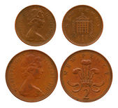 New penny, two new pences, United Kingdom — Foto de Stock