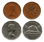One and five cents, Canada, 1961-1964 — Stock Photo