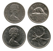 Five and twenty five cents, Canada, 1974-1977 — Stock Photo