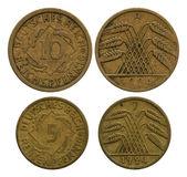 Five and ten pfennigs, German Reich, 1924 — Stock Photo