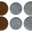 Stock Photo: One and five pennies, Finland, 1970-1979