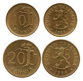 Ten and twenty pennies, Finland, 1981-1984 — Stock Photo