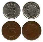 Twenty five and five cents, Netherlands, queen Wilhelmina — Stock Photo