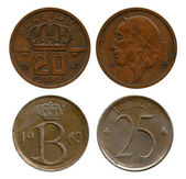 Twenty and twenty five centimes, Belgium, 1957, 1968 — Foto de Stock