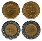 2 100 5 百 liras、イタリア、1985年-1989年 — ストック写真
