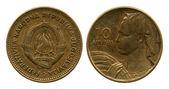 Ten dinar, FPR Yugoslavia, 1955 — Stock Photo