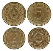 Five and two dinar, SFR Yugoslavia, 1982-1984 — Stock Photo
