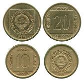 Twenty and ten dinar, SFR Yugoslavia, 1988-1989 — Stock Photo