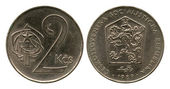 Two kronas, Czechoslovakian Socialist Republic, 1989 — Stock Photo