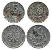Five and ten groshy, Polish Public Republic, 1962-1973 — Stock Photo