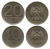 Twenty and ten zlotych, Poland, 1984-1988 — Stock Photo