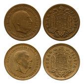 One peseta, Spain, Francisco Franco, 1947, 1966 — Stock Photo