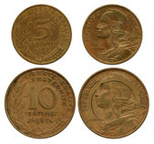 Five and ten centimes, France, 1965, 1966 — Stock Photo
