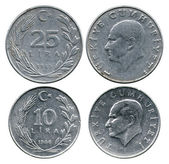 Twenty five and ten lira, Turkey, Atatyurk, 1985-1986 — Stock Photo