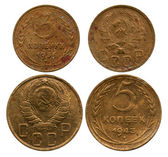 Three and five kopecks, USSR, 1936-1943 — Stock Photo