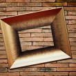 Picture frame on brick wall background — Stok fotoğraf