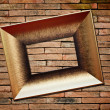 Picture frame on brick wall background — Stock fotografie