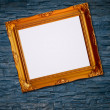 Picture frame on brick wall background — Stock Photo