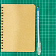 Stock Photo: Open Blank Page notebook with blue pen