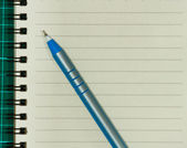 Open Blank Page notebook with blue pen — Stock Photo