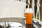 Coffee tea on the garden table — Stock Photo