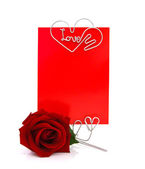 Roses With Blank Message Sign for Your Text or Message — Stock Photo