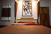 Modern bedroom in hotel — Stock Photo