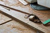 Hacksaw machine, construction tool.  — Zdjęcie stockowe