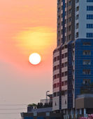 Buildings of bangkok,Thailand at sunset. — Stock Photo