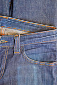 Close-up blue denim with pocket  — Stock Photo