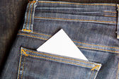 White card in jeans pocket  — Stock Photo