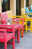 Table with chair in food store — Stock Photo
